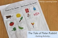 The Tale of Peter Rabbit - printables galore! Sorting, studying onomatopoeia, comprehension questions to answer together, word cards, and more! 18 pages total. Autism Activities, Comprehension Activities, Language Activities, Book Activities, Sorting Activities, Church Activities, Comprehension Questions, Easter Activities, Peter Rabbit Story