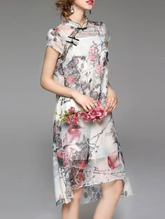 Multicolor Two Piece Vintage Midi Dress