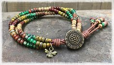 SUNFLOWER BRACELET/ BEADED WRAP BRACELET/SEED BEAD LEATHER WRAP BRACELET/ BOHO WRAP BRACELET/ GIFT FOR HER/ BOHEMIAN BRACELET. BROWSE MY COLLECTION OF 4 STRAND SINGLE WRAP BRACELETS CREATED BY ME, HERE:
