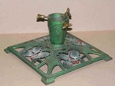 Antique-cast-iron-CHRISTMAS-TREE-STAND-Holly-Berries-GERMANY-early-MidCentury
