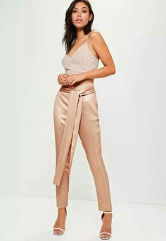Great tops need even better bottoms so sass it up with these seriously lust-worthy trousers - featuring a regal rose gold hue, luxe satin finish and tie back feature. Cigarette Trousers, Pants Outfit, Missguided, Slacks, Minimalist Fashion, Pants For Women, Fashion Outfits, My Style, Rose Gold