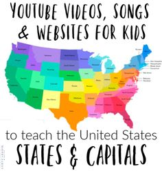 Website, songs, and ideas to help you memorize the 50 States and Capitals at home. websites Easy ways to memorize the 50 States and Capitals! Perfect at-home geography lessons. Us Geography, Geography Lessons, Teaching Geography, Teaching Kids, Kids Learning, Geography Activities, States And Capitals, United States Map, 50 States