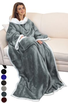 Catalonia Sherpa Wearable Blanket with Sleeves Arms,Super Soft Warm Comfy Large Fleece Plush Sleeved TV Throws Wrap Robe Blanket for Adult Women and Men Grey Stay Warm, Warm And Cozy, Giant Knit Blanket, Fuzzy Blanket, Heated Blanket, Sun Protection Hat, Diy Adult, Wearable Blanket, Kustom