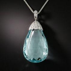 Art Deco Aquamarine Briolette Sautoir Necklace