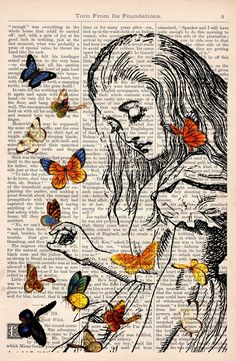 Book print Alice in Wonderland Playing with butterflies by PRRINT