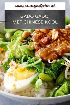 Gado gado met Chinese kool Asian Recipes, Mexican Food Recipes, Real Food Recipes, Vegetarian Recipes, Dinner Recipes, Healthy Recipes, Ethnic Recipes, Gado Gado, Healthy Diners