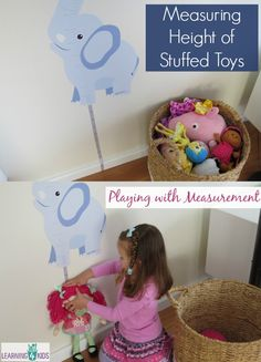 Measuring Height of Stuffed Toys - playing with measurement. which toy is the tallest and shortest? Measurement Activities, Toddler Learning Activities, Play Based Learning, Educational Activities, Toddler Preschool, Preschool Activities, Kids Learning, Teaching Measurement, Math For Kids