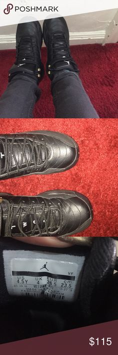 Jordan 12s These are Jordan 12s black /white metallic gold size 4.5 Baught these from another seller I loveee these but I need a 5!!!!! They do show wear they have some creasing I took pictures so u can see for yourself. They also don't have the soles in them and I do have the box other wise in good condition but I do need a size 5 for a reasonable price 😊 Jordan Shoes Sneakers