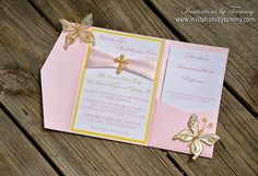 LIght Pink and Yellow Wedding Invitation - Pink Pocket fold, Light pink ribbon, Gold Cross Rhinestone Buckle
