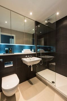 Croydon Penthouse - Contemporary - Bathroom - london - by Luke Cartledge Photography Wc Bathroom, Bathroom Lighting, Bathrooms, Small Downstairs Toilet, Mid-century Modern, Contemporary, Croydon, Bathroom Inspiration, Sink