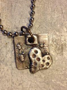 Necklace fine silver heart charm Falling by codysanantonio on Etsy, $36.00