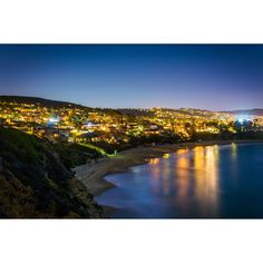 NOIR Gallery View of Laguna Beach at Night in California on Aluminum