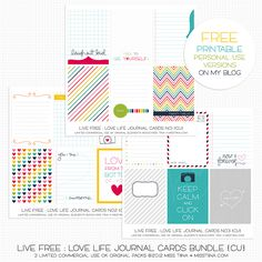 And now for the freebie! Printable Live Free : Love Life Journal Cards! --- http://misstiina.com/blog/more-live-free-love-life-free-printable-download-too/#     FREE for PERSONAL USE ONLY, thank you! :)