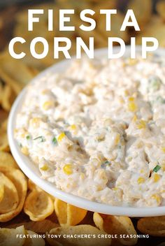 Fiesta Corn Dip featuring Tony Chachere's Creole Seasoning and Fritos Scoops! | SnackFixation.com