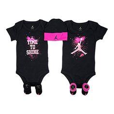 ccb0952a35a Nike Michael Jordan Infant Layette 5 Pcs Sets Bodysuit, Cap, and Booties,  BLACK, (0-6 Months)