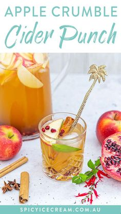 This Apple Crumble Cider Punch has the flavours of the classic apple crumble, but in cocktail form! This Pitcher cocktail has winter vibes – think cider, spices and seasonal fruit. However because it's served icy cold, you can enjoy this with friends at any time of year. Apple Juice, Apple Cider, Apple Bourbon, Fruit In Season, Ginger Beer, Winter Food, Original Recipe, Cocktail Recipes, Easy Desserts