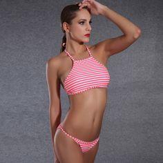 3dcb28149be36 2017 Summer Styles Multi Rope Triangle Stripe Crop Top High Neck Push Up  Sexy Bikinis Set Women Swimwear Swimsuit Bathing Suit