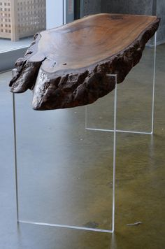 Walnut and Acrylic Suspended Low Table/Bench