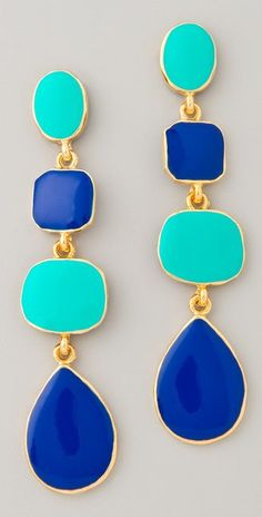 Kenneth Jay Lane Polished Gold & Enamel Earrings great colour combination for summer Jewelry Box, Jewlery, Jewelry Accessories, Fashion Accessories, Fashion Jewelry, Fashion Shoes, Vestidos Azul Royal, Bling Bling, Diamond Are A Girls Best Friend