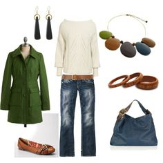 Darling sweater & I love the color brought in w/ the jewelry & handbag.