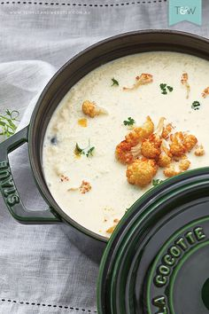 Creamy cauliflower soup by Jonathan Fleming, created using Staub cast iron cookware. See the recipe on the Temple & Webster blog. Image by Denise Braki, styled by Jonathan Fleming