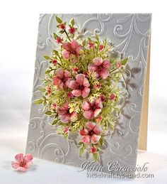 KC Impression Obsession Bunch of Blossoms  Flower Tutorial...The flowers were cut using vanilla card stock, Lightly mist the flower, Lightly apply ink on the damp flower using a mini applicator but allowing some of the vanilla color to show through. Dry damp flower with heat gun. ...