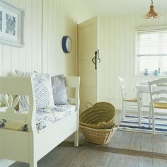 Blue and white country dining room bench could be made from dining chairs just thinkin