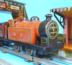 Brimtoy Tank Engine Circa with Brimtoy station and bridge. Toy Trains, Rolling Stock, Tin Toys, Bridge, Engineering, Play, Games, Children, Model