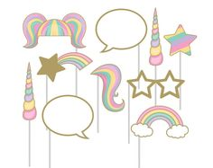 Unicorn Photo Props - Unicorn Party Favors - Unicorn Birthday Decorations - Unicorn Horn - Girl Party Games - Photo Booth Props - Backdrop