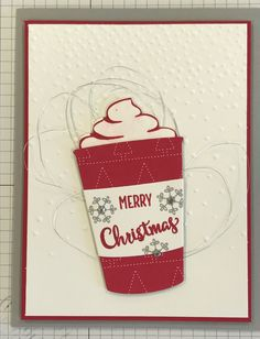 Stampin' Up! Merry Cafe, Coffee Cafe, Coffee Cups framelits, softly falling embossing Cardstock: smoky slate, real red, whisper white, Quilted Christmas designer series paper Ink: smoky slate, real red Accessories: wink of Stella clear, silver metallic thread, rhinestones, dimensionals  Inspired by: http://pin.it/iSZOxNI