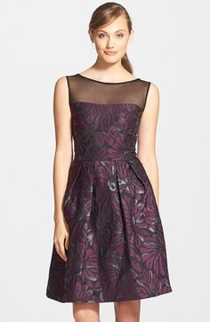 Free shipping and returns on Vera Wang Metallic Jacquard Fit & Flare Dress at Nordstrom.com. Bits of shimmer woven into color-saturated floral jacquard lavishly enrich an illusion-yoke party dress.