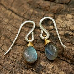 Teardrop cabochon labradorite earrings with sterling silver hooks