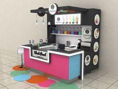 Blackpearl Bubble Tea Shopping Mall Stand on Behance Small Coffee Shop, Coffee Shop Design, Tea Restaurant, Restaurant Design, Kiosk Design, Cafe Design, Food Cart Design, Bubble Tea Shop, Counter Design