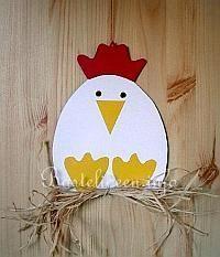 Kinderbasteln - Basteln zu Ostern - Henne Fensterbild