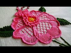 Satin Ribbon Embroidery Roses is three dimensional. Hand Embroidery: Flower Embroidery for Cushions Embroidery Patterns For Kameez Embroidery Stitch Library how to do brazilian embroidery stitches Hand embroidery how to make shaded leaf with long and shor Brazilian Embroidery Stitches, Types Of Embroidery, Learn Embroidery, Hand Embroidery Stitches, Embroidery For Beginners, Hand Embroidery Designs, Embroidery Kits, Embroidery Techniques, Embroidery Thread
