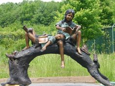 Boy and Girl Kid Reading on a Tree Branch - sculpture from All Classics