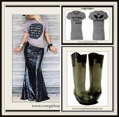 COWGIRL GYPSY SKIRT Sexy Black Sequin Long Maxi Skirt, No Angel Tee and Tall Leather Boots  #skirt #sequinskirt #maxiskirt #long #cowgirl #western #nfrfashion #NFR #cowgirlboots #boots #leatherboots #ladiesboots #cowboyboots #top #tshirt #sexy #black #grey #shopping #boutique #beautiful #style #fashion #rodeo
