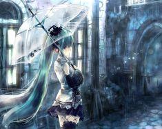 梅雨の雨と傘をさした初音ミクの綺麗なイラスト壁紙画像