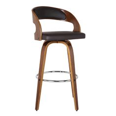 Armen Living Shelly Counter or Bar Height Swivel Barstool in Walnut Wood Finish with Brown PU