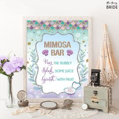 Printable MIMOSA BAR. Mermaid Bridal Shower Sign. Ocean Under Water Sea Coral Bridal Shower Decoration. Purple Gold Wedding Decor Sign. MER4 #babyshowerideas4u #birthdayparty  #babyshowerdecorations  #bridalshower  #bridalshowerideas #babyshowergames #bridalshowergame  #bridalshowerfavors  #bridalshowercakes  #babyshowerfavors  #babyshowercakes