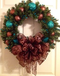 Brown and Turquoise Christmas wreath on Etsy, $67.50