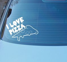 I LOVE PIZZA  Car or laptop vinyl decal. by CatchAWaveDesigns