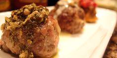Bacon & Mozzarella Meatballs with Pesto Sauce