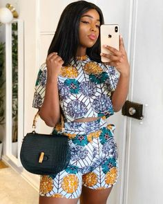 ankara dress styles african fashion ankara shorts with matching to for ladies, these are lovely and trendy ankara styles for women Nigerian Dress Styles, African Print Dresses, African Dress, African Prints, African Fabric, Ankara Blouse, African Fashion Ankara, Latest African Fashion Dresses, Girl Clothing