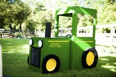 Tractor out of boxes. we could do a train like this @Christina Childress & Stainback Ott