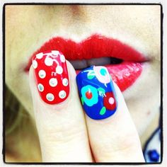 nail art polka dot & floral nails by mojo spa #mojospa #manicure #nailart