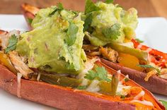 Here's a video showing you how: | These Chicken Fajita Sweet Potato Skins Are Healthy And Filling For Dinner