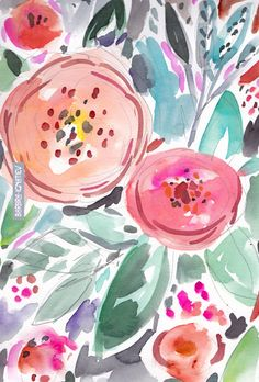 Daily Color #46: Coral Whirl Floral by Barbra Ignatiev #flowers #watercolor