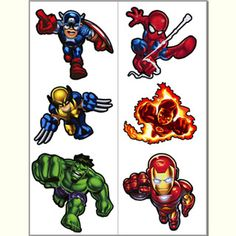 Marvel The Avengers Hero Squad Temp Tattoos 2pk