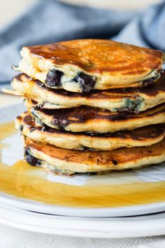 BLUEBERRY VEGAN PANCAKES | The Worktop -- You won't be able to tell that these Blueberry Vegan Pancakes contain no egg, no milk and no butter. These pancakes are incredibly thick and fluffy.
